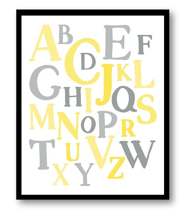 ABC Alphabet Nursery Art Nursery Baby Art Yellow Grey Gray Child Baby Art Print Kids Room Wall Art D