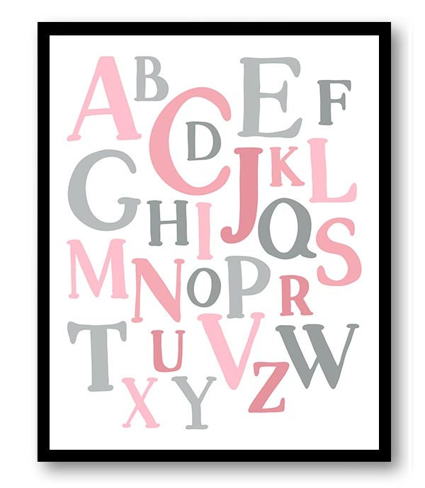 ABC Alphabet Nursery Art Nursery Baby Art Pink Grey Gray Child Baby Art Print Kids Room Wall Art Dec