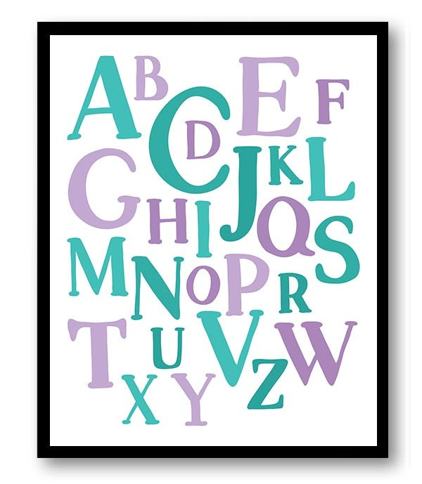 ABC Alphabet Nursery Art Nursery Baby Art Purple Teal Blue Green Child Baby Art Print Kids Room Wall