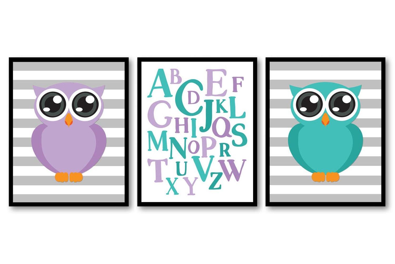 Owl Nursery Art Set of 3 Prints Purple Green Teal Grey Gray ABC Alphabet Nursery Baby Child Kids Roo