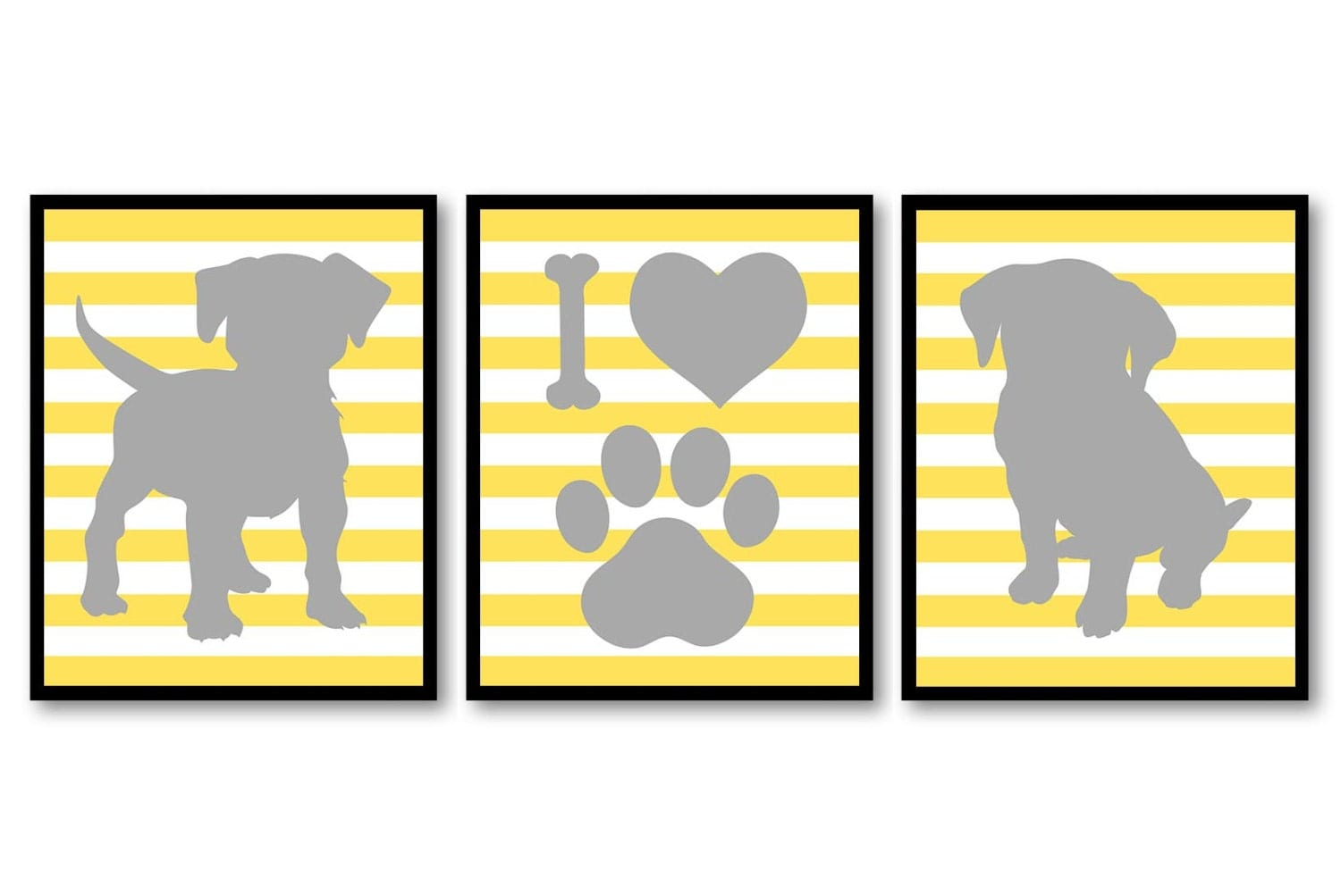 Puppy Dog Nursery Art Puppy Prints Set of 3 Prints Bright Yellow ...