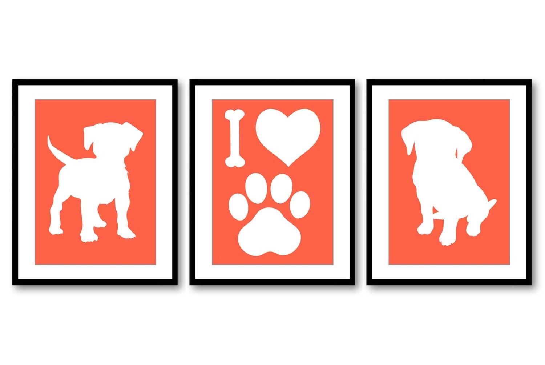 Puppy Dog Nursery Art Puppy Prints Set of 3 Prints Orange Coral White Baby Wall Decor I Love Dogs Pa