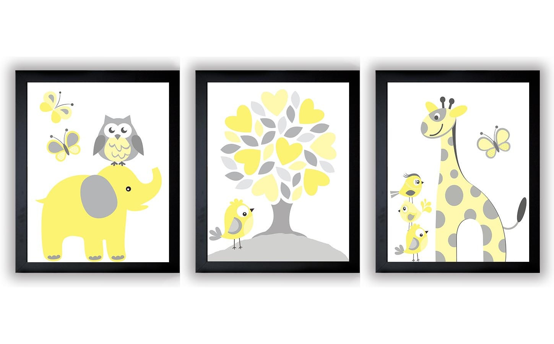 Yellow Grey Nursery Art Print Set of 3 Elephant Owl Bird Tree Giraffe Baby Nursery Print Child Kid R