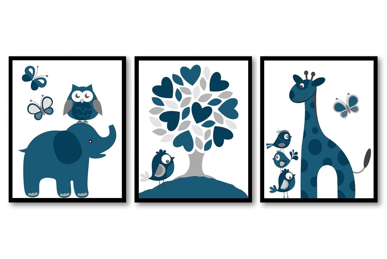 Navy Blue Grey Boys Nursery Art Print Set of 3 Elephant Owl Bird Tree Giraffe Baby Nursery Print Chi