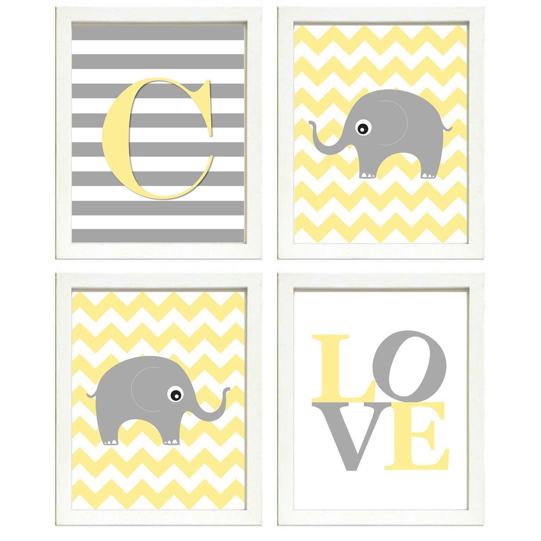 Elephant Nursery Art Set of 4 Prints Grey Yellow Chevron Stripes LOVE Letter Monogram Child Kids Roo
