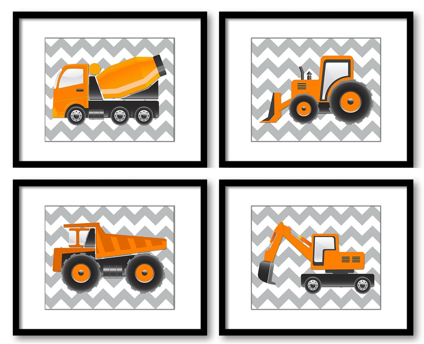 Transportation Construction Vehicles Heavy Machinery Kid Children Art Set of 4 Prints Boy Nursery Wa