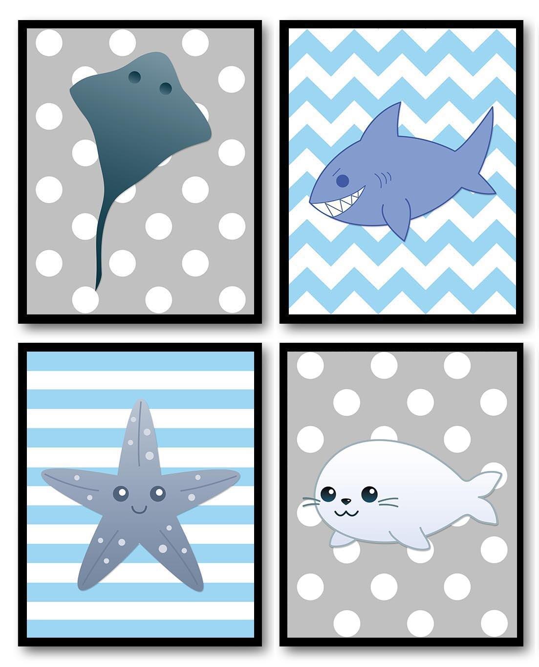 Navy Blue Grey Gray Sea Animals Boys Art Nursery Stingray Shark Starfish Seal Set of 4 Prints Child