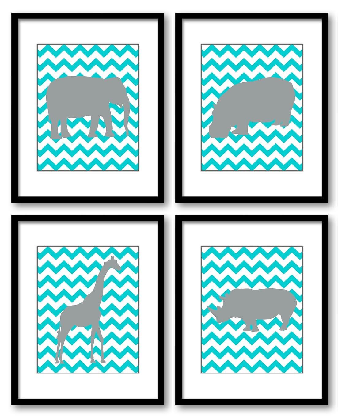 Grey Gray Blue Turquoise Nursery Art Nursery Print Baby Africa Animals Set of 4 Prints Elephant Hipp