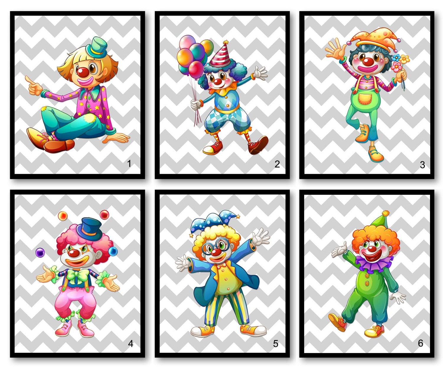 Clown Nursery Art Print Mix and Match Carnival Circus Clowns Child Baby Boys Kids Room Wall Decor Ba