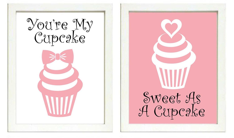 Sweet As A Cupcake Nursery Art Print Set of 2 Youre My Cupcake Girl Pink White Black Child Girls Kid