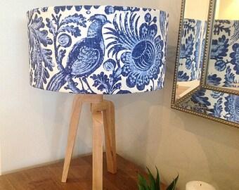 Lampshade Hampton's Decor Lamp Shade Porcelain Blue Decor Blue and White Cylinder Lampshade, Barrel Lampshade.
