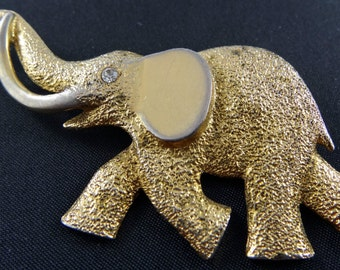 Vintage Elephant Brooch Trunk Up Tusks Good Luck Gold Tone Rhinestone Eye