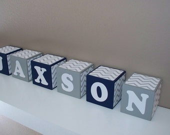 SALE Letter Blocks - Nursery Decor - Navy Blue, Grey & White - Chevron - Wooden - Baby Shower Decoration, Boy room - Personalized - Wooden