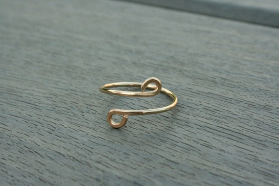 14K Gold Filled or Sterling Silver Single Twist Ring