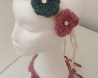 vintage style pink, green and cream flower hairband