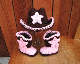Newborn Baby Crochet Cowboy Hat & Boots Photo Prop.0-3, 3-6m..