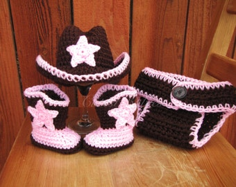 Newborn Baby Crochet Cowboy/ Cowgirl Hat, Boots & Diaper Cover Photo Prop. 0-3, 3-6m.
