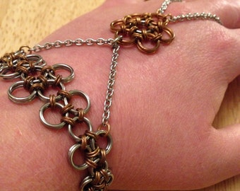 Stainless Steel and Bronze Handflower Chainmaille Bracelet