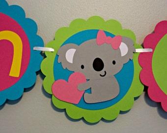 Koala Banner/ Kangaroo Banner/ Australia Banner/ Birthday Banner/ I am One/ Brights/ Baby Banner/ Girl Birthday/ Boy Birthday/Koala Party