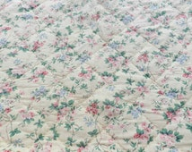 BARGAIN SALE - French Vintage Throw - Handmade French Quilt - Flower Pattern - Yellow - Green - Pink Blue - Used Condition - 186cm x 176cm