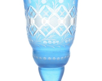 "Victorian 7"" Bohemian Blue Cut Glass Vase c.1900s"