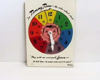 Timmy Time Clock Wooden Pieces Puzzle Play Set By SIFO Vintage 1950's Tray Puzzle, Room Decor Children's Toy