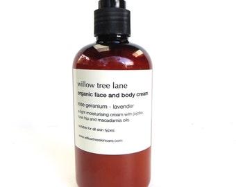Organic Face and Body Cream, Light Body Moisturiser with Jojoba and Rosehip, Non Greasy