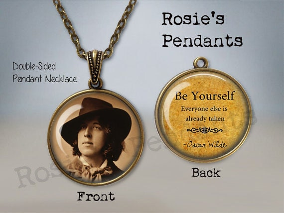 Oscar Wilde Photograph And Quote Double Sided Pendant Or Key