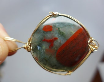 Cherry Orchard Agate Wire Wrapped Pendant