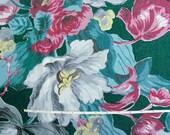 Vintage 40s Large Green Floral Pebble Barkcloth Fabric