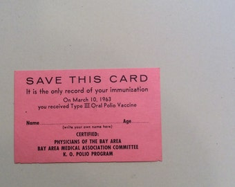 Polio Vaccine card, Medical History, Medical Card, Oral Polio Vaccine,Vintage Polio Card, Immunization Card,Polio, Polio Medical Card