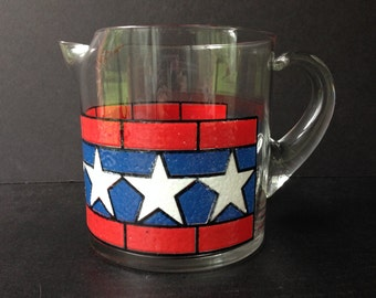 Vintage Patriotic Pitcher, Red White and Blue, Stars and Stripes, USA, US