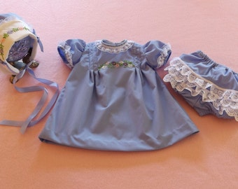 I940,s Style Periwinkle Baby Dress, Bonnet & Bloomers With Hand Embroidery
