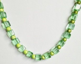 Green Glass Cubes & Bead Necklace