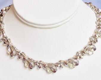 Clear Teardrop Rhinestone on Silver Necklace