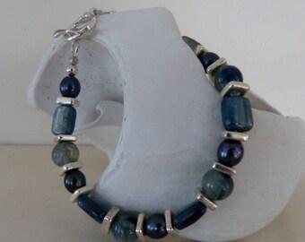 African kyanite and freshwater pearl sterling silver bracelet. Blue,Green.
