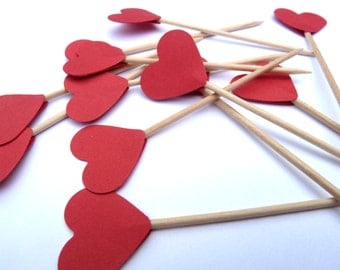 24 Red Hearts Toothpick Cupcake Toppers, Food Picks, Theme Party Picks