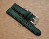 20mm dark green vintage handmade buffalo leather watch strap