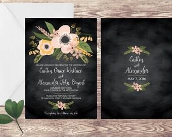 The Atlanta Wedding Invitation and RSVP Set, Chalkboard Wedding Invitation, Floral Chalkboard Wedding Invite, Spring Wedding Invitation