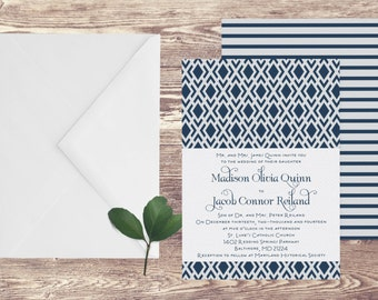 The Baltimore Wedding Invitation and RSVP Set, Geometric Wedding Invitation, Art Deco Wedding Invite, Navy Blue Wedding Invitation, Military