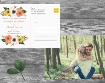 Save The Date Postcard, Postcard Save the Date, Photograph Save the Date, Custom Personalized, Engagement Announcement Card - Boston