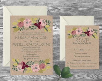 The Exeter Wedding Invitation and RSVP Set // Custom Personalized // Invite Card Suite