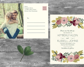 Save The Date Postcard, Postcard Save the Date, Photograph Save the Date, Custom Personalized, Engagement Announcement Card - Exeter