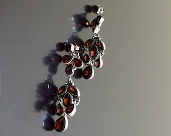 Garnet Earrings - Chandelier Earrings - Garnet Drop Earrings - Dangling Earrings - Handmade Earrings - Garnet Art Deco Earrings - Jewelry