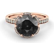 Black Diamond Engagement Ring, Flower Diamond Ring, Vintage Engagement Ring, Art Deco Promise Ring, Black Diamond Halo Ring