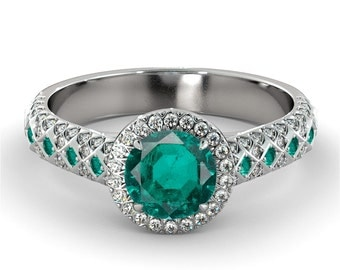 2.00 CT Natural 7MM Halo Green Emerald Filigree Engagement Ring 14k White Gold Large Emerald Ring