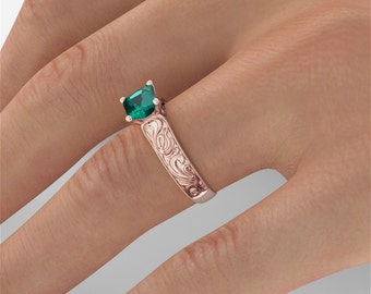 2 CT Emerald Engagement Ring, Rose Gold Emerald Ring, Large Emerald Engagement Ring, 14k Rose Gold Filigree Ring, Handmade Promise Ring