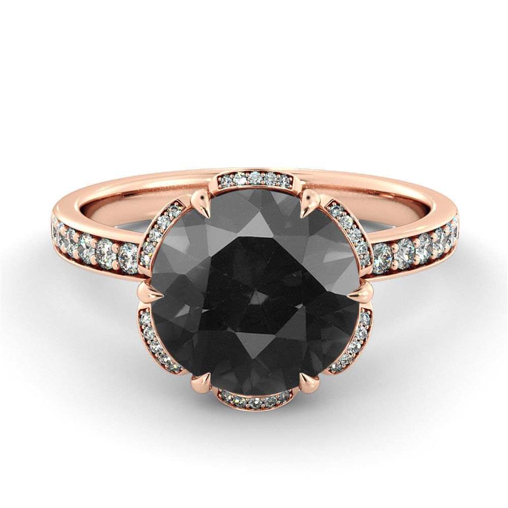 Black Diamond Engagement Ring Flower Diamond Ring Vintage