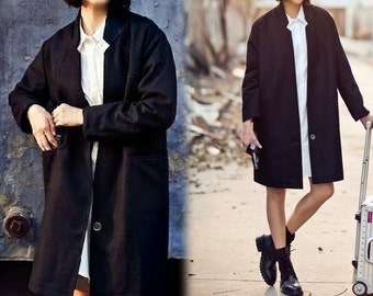 406---Women's Cashmere One Button Boys Coat, Knee Length, Simplicity Black Car Coat, Cocoon Coat, Oversized Coat, Made to Order.