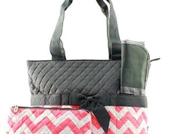 3 Piece Personalized Pink & Gray Chevron Diaper Bag with Changing Pad And Cosmetic Case